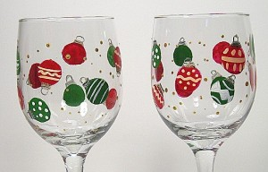 Christmas Bulbs Wine Glasses